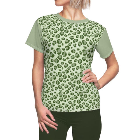 army green leopard women's top