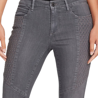 Mid-rise Skinny Studded Moto Ankle Jeans - Cloudsdale Grey