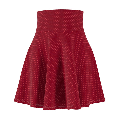 Women's Dark Red Polka Dot Mini Skirt