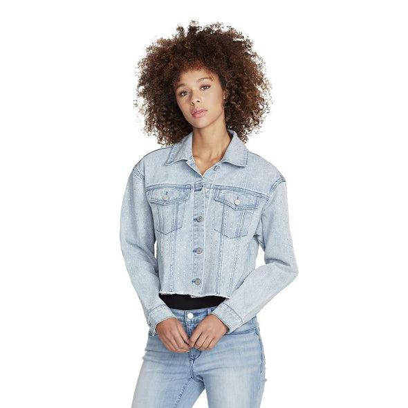 Denim Studded Crop Jacket - Genesee