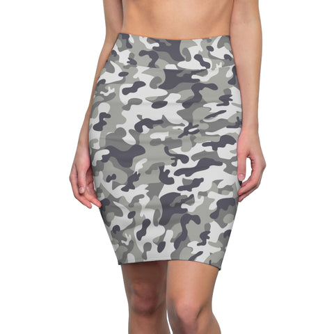 Women's Gray Camo Stretch Pencil Skirt