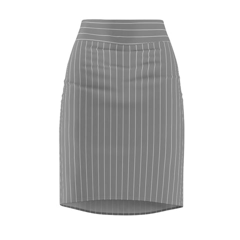 Women's Gray Pinstripe Stretch Pencil Skirt
