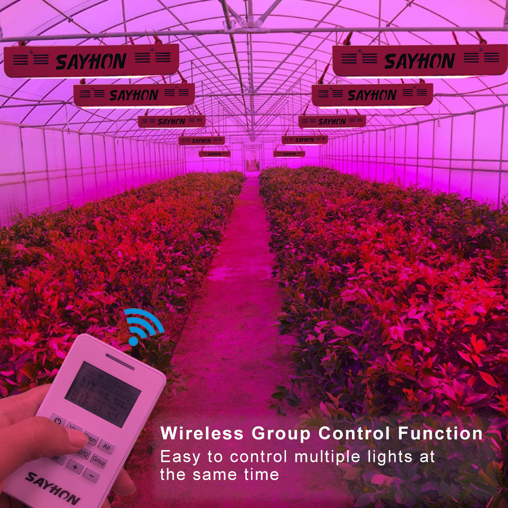 SAYHON 600W Led Grow Light with Programmable Timer Group Control  Function,Optical Lens Thermometer Humidity Monitor,Full Spectrum Growing  Lights Lamp