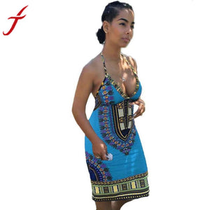 African Deep V Neck  Backless Traditional African   Dress