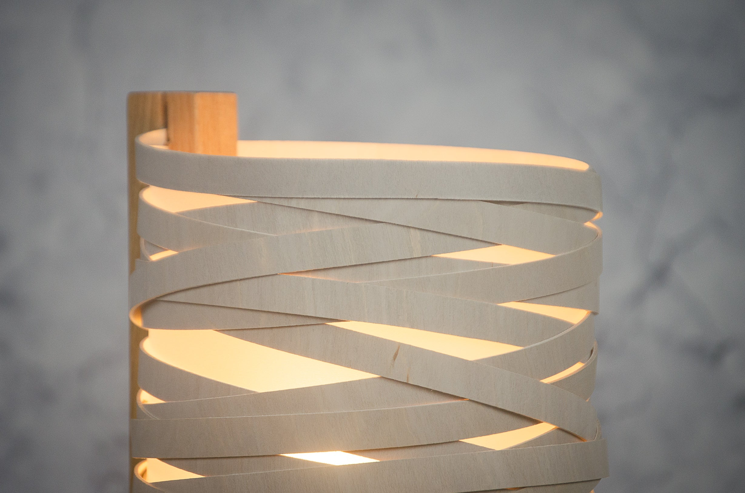 Handcrafted in Devon using sustainable woods, these lamps make great statement pieces for any modern interior. Oak base with bent birch ply & opaque polypropylene shade