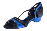 Model: Bespoke Adjustable Shoe - Italian Satin: Black & Blue