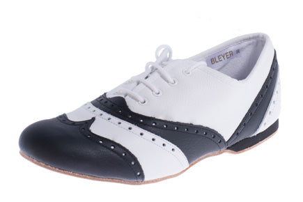 Model: Leather Brogue with Full Leather Sole - Black & White