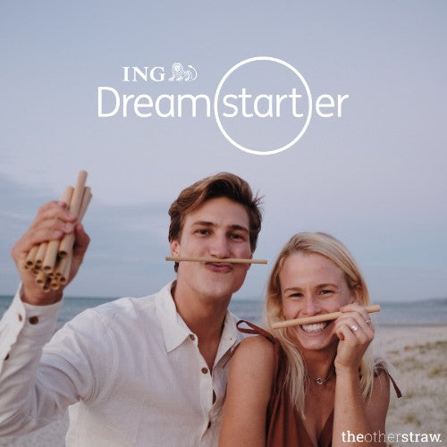 photo of Lennart and Jamie, co founders of theotherstraw with ING dreamstarter logo