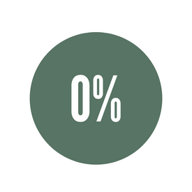 green icon with 0% representing zero emissions and carbon neutral