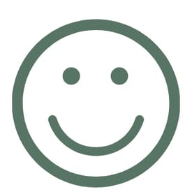 green and white icon of smiling face