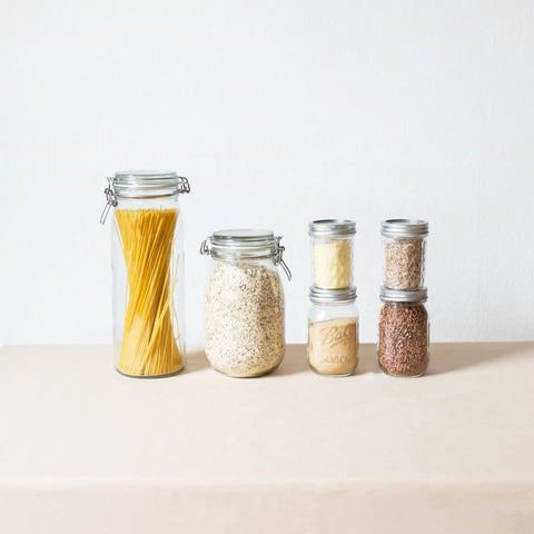 image of glass jars with produce to go zero waste