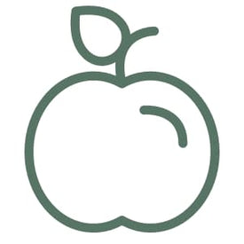 green icon of an apple representing compostable