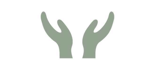light green icon of two hands folding open