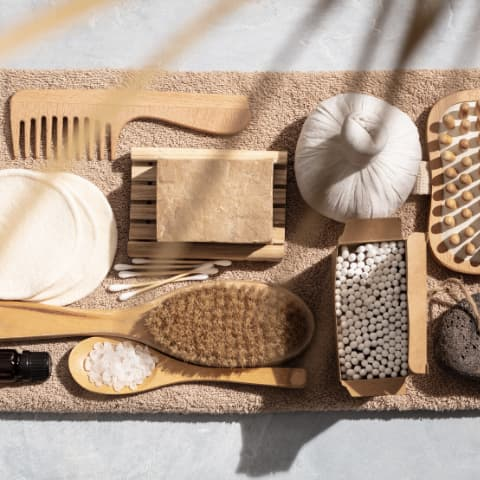Bamboo hairbrush, comb, scrubber and facepads
