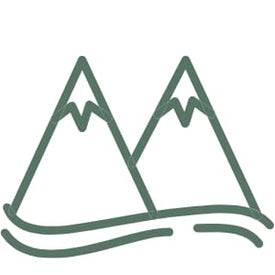 green icons of mountains representing perfect for travel