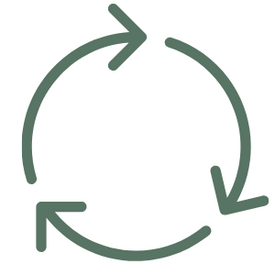 green icon of arrows representing reusable