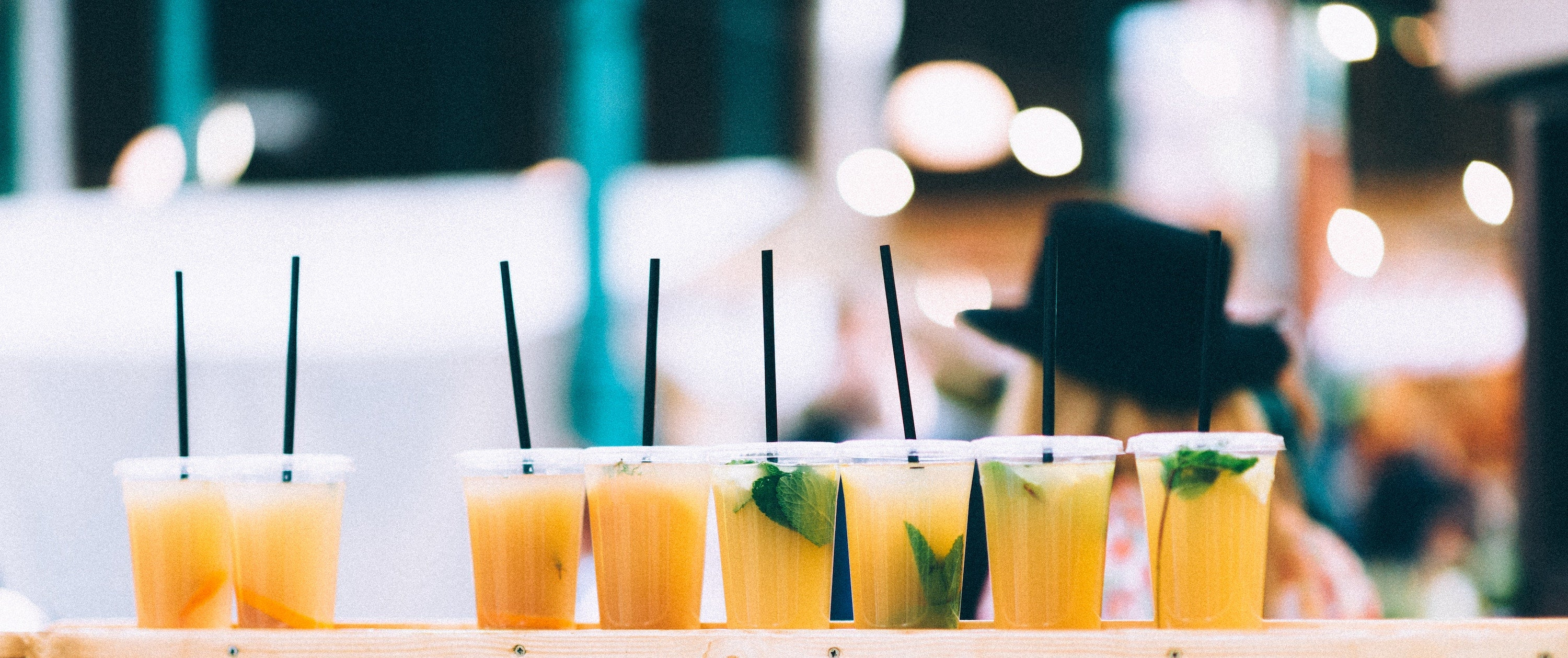 drinks with plastic straws