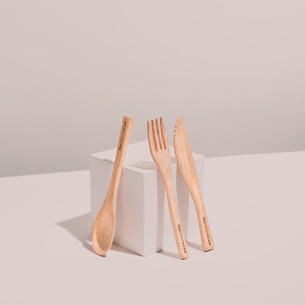 bamboo cutlery on white background