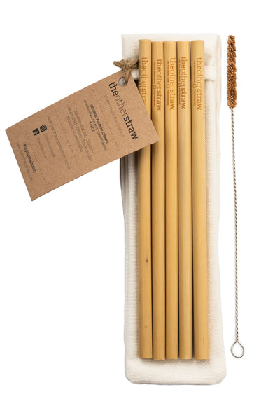 Original Bamboo Straws  | 5-pack (with natural coconut brush)