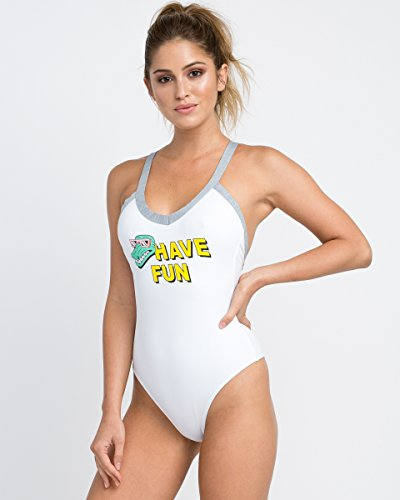 RVCA Junior's Real Talk One Piece Swimsuit, White, S