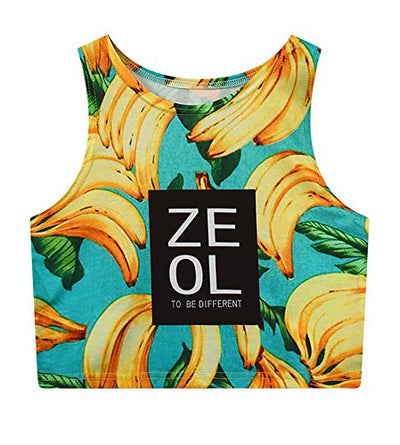 Women's Multi Digital Printed Sexy Bodycon Sleeveless Cropped Tank Top