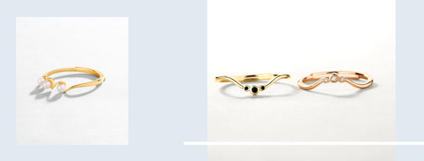 images of our beautiful stacking rings in gold