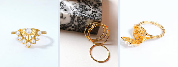 our stacking rings with beautiful pearls
