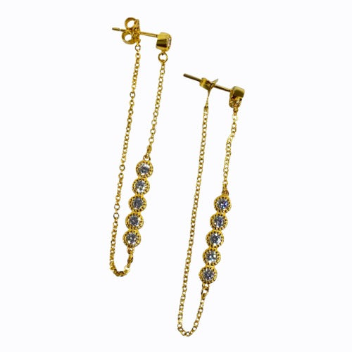 Long line With Simple Stones, 14ct Gold Plate