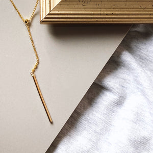Drop Bar Necklace, Gold