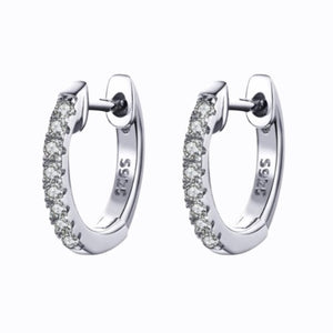 Mini Pavé Cuff Hoop Earrings, Sterling Silver