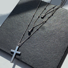 Triple Layer Necklace, Pave + Queen + Cross, Silver