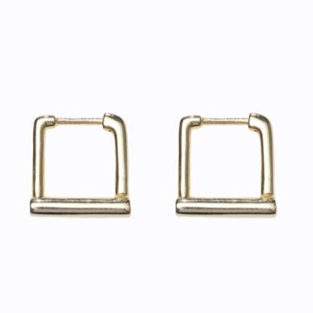 Mini Square Hoop, Gold