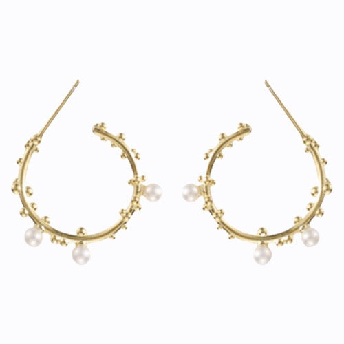 Hanging Hoop and Pearls, 14ct Gold Plate