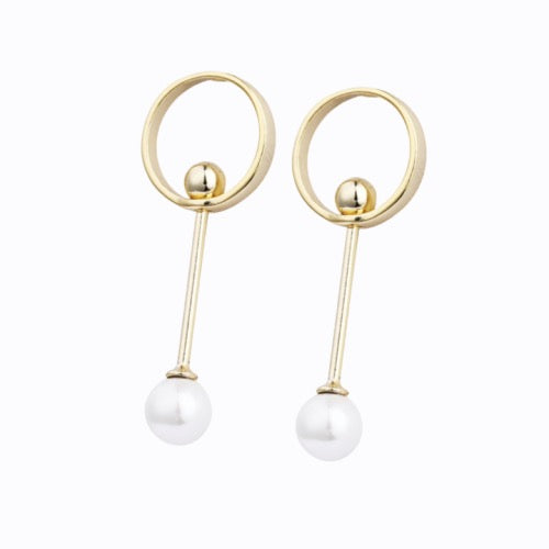 Hoop, Bar + Pearl Earrings, Gold
