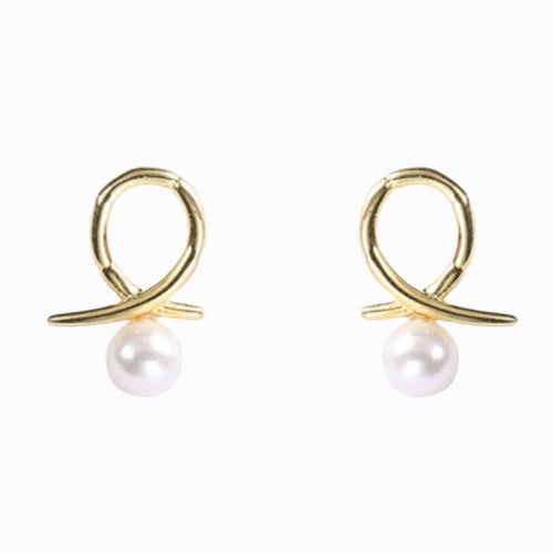 Loop With Pearl Earrings, 14ct Gold Plate