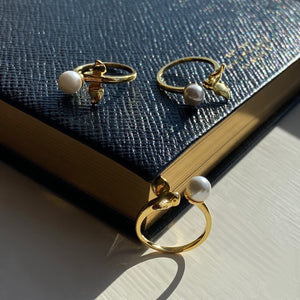 Hummingbird Pearl Ring, 14ct Gold Plate