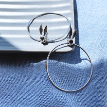Bunny Rabbit Hoop Earrings, Silver