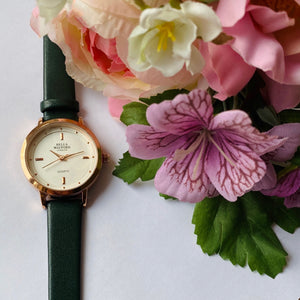 The Classic Lady. Forest Green Leather Strap