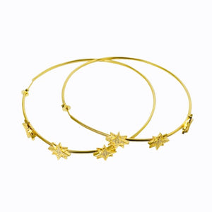 Pavé Starburst Hoops, 14ct Gold Plate