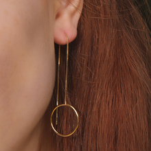 Circle Long Chain Earrings, 14ct Gold Plate
