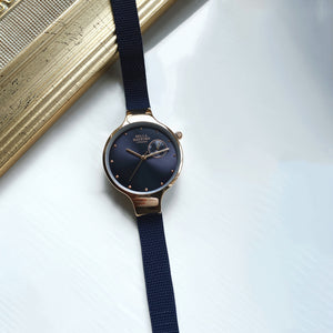 Bella Mayford, Classic Chelsea, Rose Gold Dial, Blue Stainless Steel Strap