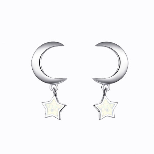 Moon And Hanging Star Earrings, Sterling Silver