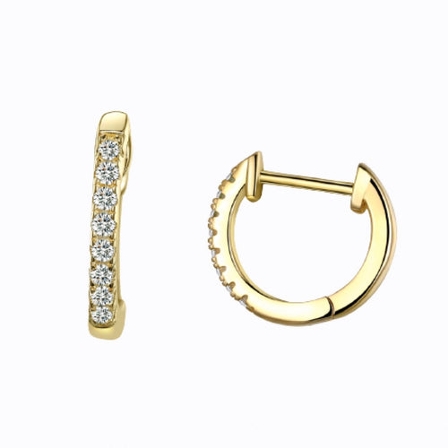 Mini Pavé Cuff Hoop Earrings, 14ct Gold Plate