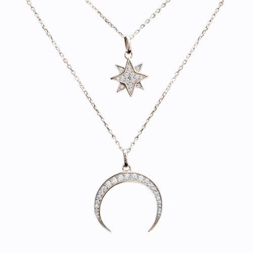 Pavé Starburst + Crescent Moon Necklace, Gold