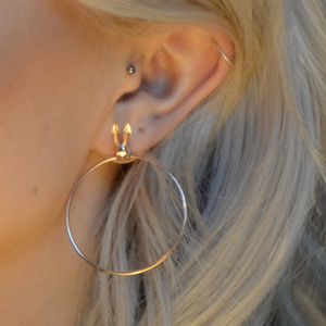 Bunny Rabbit Hoop Earrings, Rose Gold - Bella Mayford