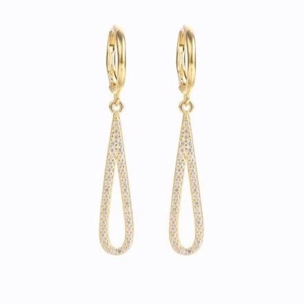 Drop Hoop Earrings, 14ct Gold Plate