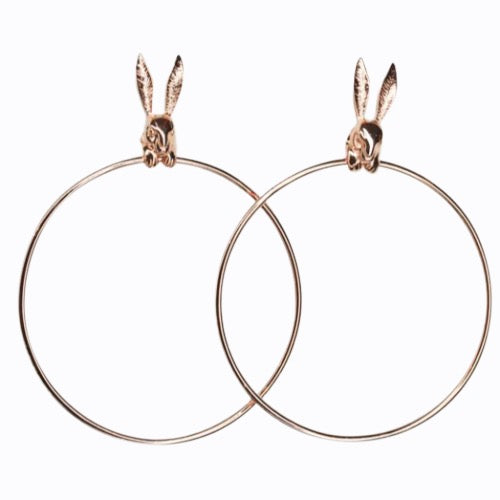 Bunny Rabbit Hoop Earrings, Rose Gold