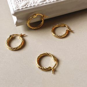 Twisted Hoop Earrings, 14ct Gold Plate