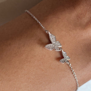 Double Butterfly Bracelet, Sterling Silver
