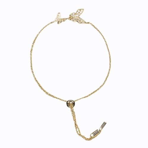 Double Butterfly Bracelet, 14ct Gold Plate